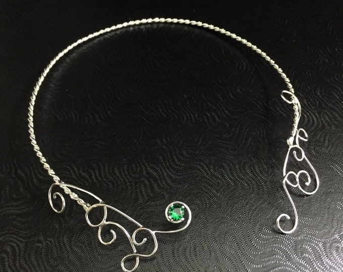 Victorian Neck Ring Jewelry in Sterling Silver Necklet, Gemstone Neck Torc, Neck Torcs in Sterling Silver, Handmade Cosplay Neck Ring