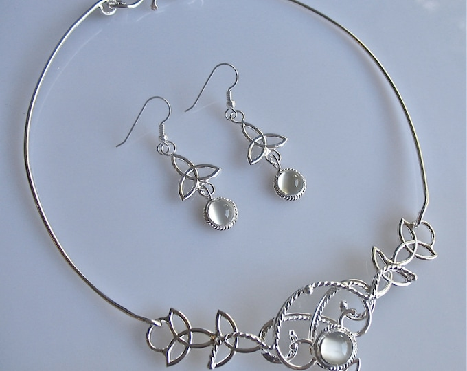 Artisan Bohemian Moonstone Jewelry Set Handmade in Sterling Silver, Neck Ring, Bracelet Cuff, Earrings