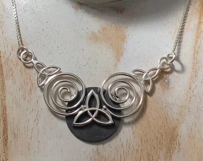 Celtic Knot Spiral Necklace in Sterling Silver with 16 inch Box Chain, Gifts For Her, Anniversary, Irish Bridal
