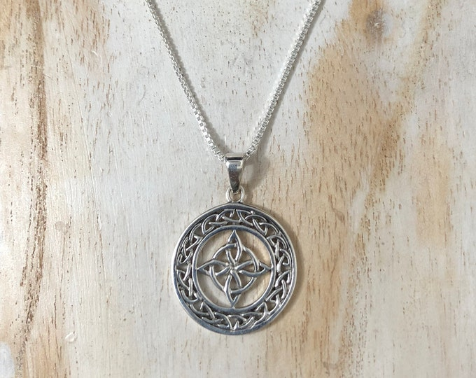 Celtic Knot Eternity Necklace with 18 Inch Box Chain in Sterling Silver, Celtic Necklaces, Irish Necklaces, Irish Pendants, Boho Style