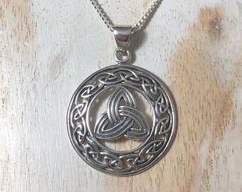 Celtic Knotwork Sterling Silver Necklace, Trinity Knot Irish Necklaces, Gifts For Her, Celtic Weddings