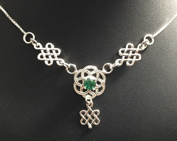 Celtic Knot Gemstone Necklace in Sterling Silver, Scottish Symbolic Necklaces, Irish Jewelry, Gifts for Her