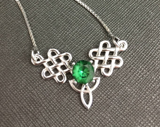 Celtic Trinity Knot necklace with Gemstone, Gifts For Her, 18 inch Box Chain, Irish Bohemian Celtic Hipster Necklace,  Celtic Boho Necklace