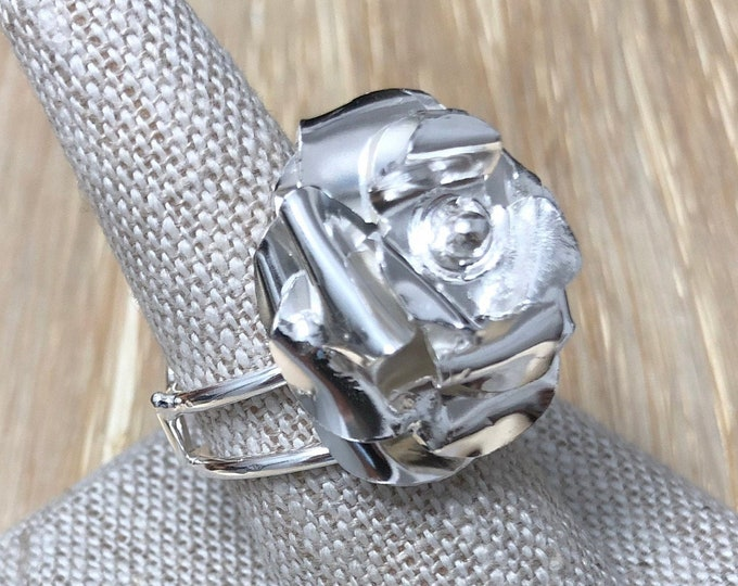 Floral Rose Ring in Sterling Silver, Artisan Rose Ring, Gifts for Her, Statement Floral Rings, Whimsical Rose Petal Flower Jewelry Designs