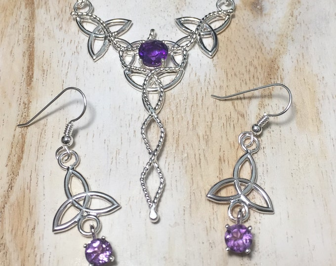 Celtic Knot Necklace and Earrings Jewelry Set in 925, Irish Wedding Jewelry, Gifts For Her, Irish Wedding Sets, Victorian Wedding