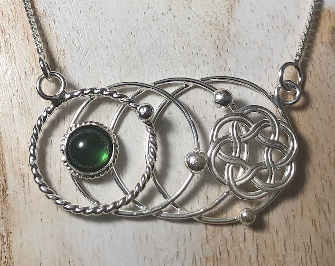 Celtic Knot Tourmaline Moonstone Opal Necklaces, Artisan Circles Celestial Necklaces, Gifts For Her, Birthday, Anniversary