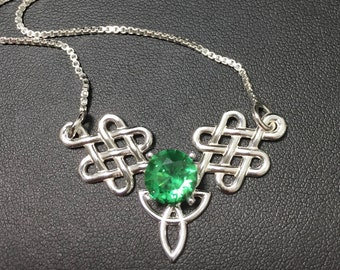 Celtic Trinity Knot Emerald Peridot Amethyst Necklace Sterling Silver, Gifts For Her, Irish Bohemian Hipster Necklace,  Celtic Boho Necklace
