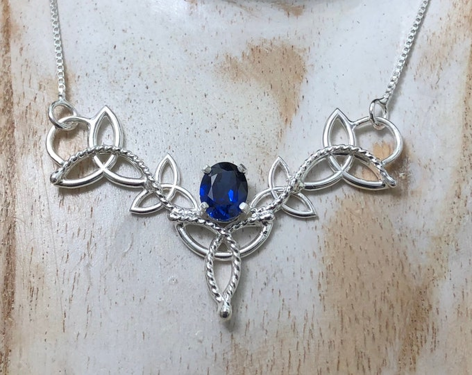 Statement Celtic Knot Sapphire Necklaces in Sterling Siver, Irish Necklaces, Gifts For Her, Victorian Necklace, 16 Inch Box Chain
