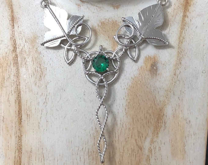 Celtic Leaf Emerald Amethyst Peridot Necklace in Sterling Silve, Statement Woodland Necklace, Irish Emerald Necklace Sterling Silver OOAK