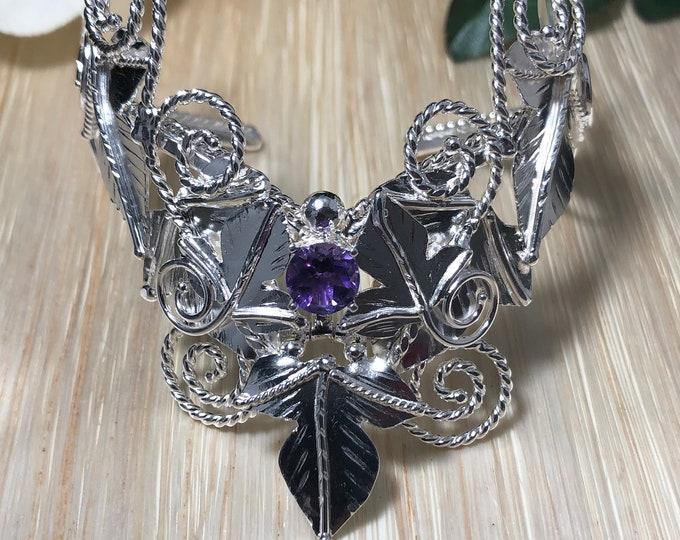 Woodland Cuff Bracelet in Sterling Silver, Artisan Bracelet Cuff, 8mm Genuine Gemstone, Statement Bracelet Cuff Movable Leaf 925