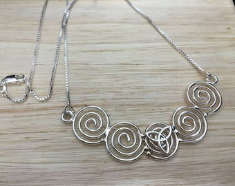 Celtic Symbols 925 Necklaces 16 Inch Box Chain, Renaissance Cosplay Celtic Necklaces, Irish Symbols Necklaces, Celtic Statement Necklace
