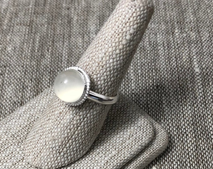 Moonstone Sterling Silver Ring, Simple Moonstone Rings, Gifts For Her, Handmade Sterling Silver Ring, Simple Gemstone Ring