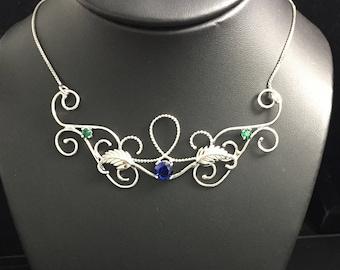 Elvish Woodland Amethyst Necklace, Gemstone Leaf Necklaces, Woodland Renaissance Statement Necklace, Leaf Necklaces, Gifts For Her