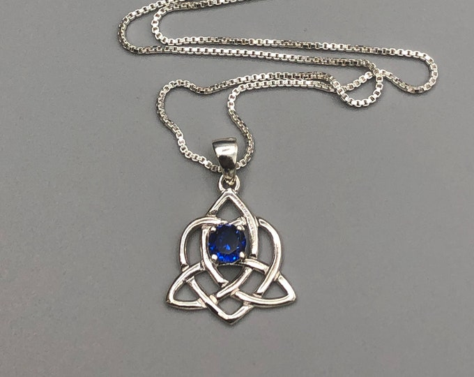 Celtic Sisters Knot Emerald Necklace in Sterling Silver, Irish Necklace, Gifts For Her, Charmed TV Show, Celtic Jewelry