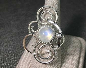 Bohemian 10mm Gemstone Sterling Silver 14K Gold Ring, Statement Rings, Abstract Swirl Ring with 8mm Cabochon, Art Nouveau Styles