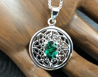 Celtic Emerald Necklace, 18 inch Box Chain, Irish Symbolic Necklace with Emerald,  925 Celtic Necklace, Gemstone Irish Gift for Her Necklace