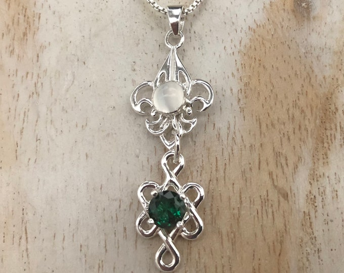 Fleur De Lis Gemstone Necklace in Sterling Silver, Irish Bohemian Celtic Necklace, Gifts For Her, Victorian Jewelry