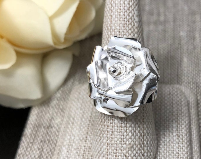 Rose Floral Ring in Sterling Silver, Artisan Rose Ring, Gifts for Her, Statement Floral Rings, Whimsical Rose Petal Flower Jewelry Designs