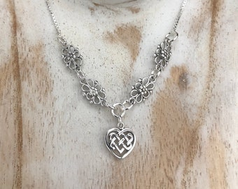 Celtic Heart Symbol Necklace 925, Irish Knot Necklace in Sterling Silver with 18 Inch Box Chain, Irish Necklaces, Symbolic Celtic Jewelry