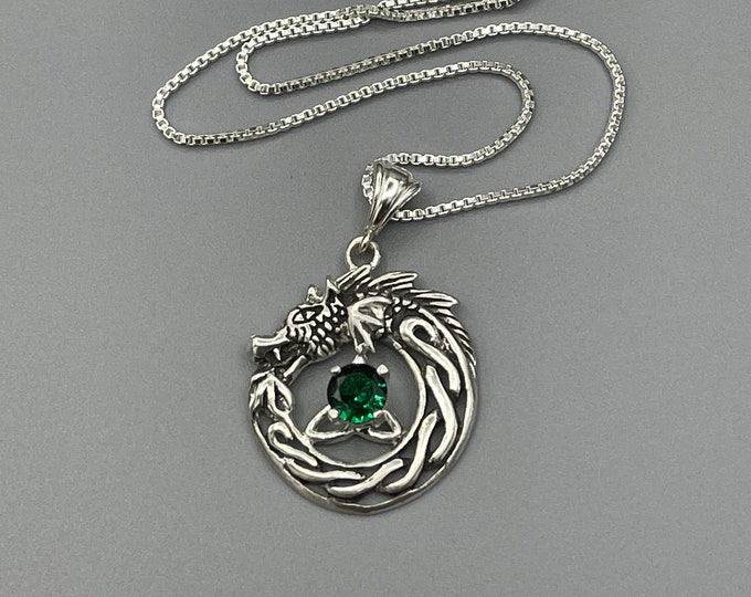 Celtic Dragon Emerald Necklace in Sterling Silver With Chain, Trinity Knot Gemstone Necklace,  Valentine's Day Gift for Her Necklace