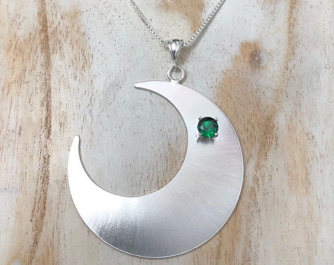 Large Crescent Moon Gemstone Necklace in Sterling Silver, Celestial Bohemian Necklaces, Gifts for Her, Birthday Girl