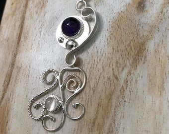 Art Nouveau Freeform Abstract Necklace, Sterling Silver Bohemian Necklaces with Gemstones, Labradorite and Moonstone in Sterling Silver