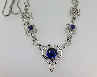 Celtic Knot Sapphire Necklace in Sterling Silver, Bohemian Irish Necklace with 3 Gemstones, Sapphire, Sterling Silver Handmade OOAK