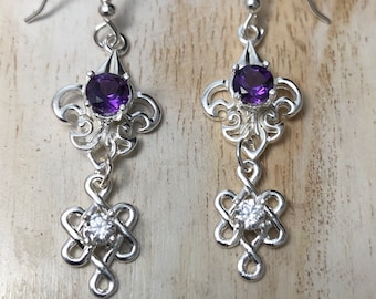 Bohemian Drop Amethyst Earrings in Sterling Silver, Gifts For Her, Irish Gemstone Earrings, Renaissance Style Earrings, Celtic Weddings