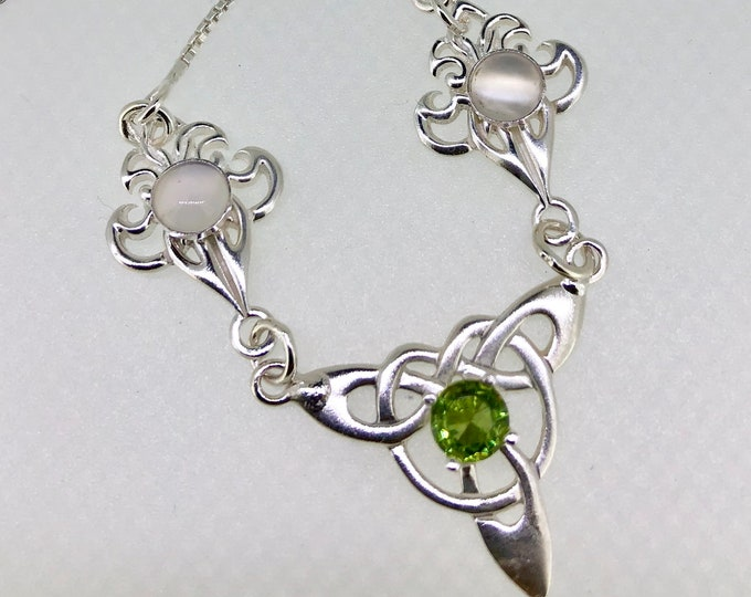 Celtic Knot Necklace with Peridot in Sterling Silver, Bohemian Artisan Necklaces, Gifts For Her, Anniversary Ideas