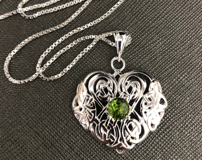 Celtic Irish Heart Gemstone Necklace in Sterling Silver, Irish Jewelry, Gifts for Her, Anniversary