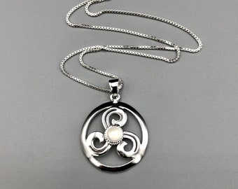 Celtic Knot Moonstone Spiral Necklace in Sterling Silver, Scottish Symbolic Necklaces, Irish Necklaces, Irish Pendants, Boho Style