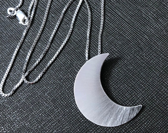 Stevie Nicks Inspired Crescent Moon Necklace with 18 inch Box Chain, Sterling Silver Celestial Crescent Moon Necklace, Handmade