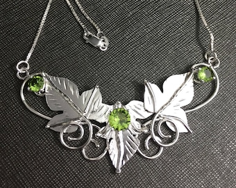 Woodland Leaves Sterling Silver Necklace, Fae Renaissance Necklace with Lab Emerald, 16 inch Box Chain 925, Bohemian Style