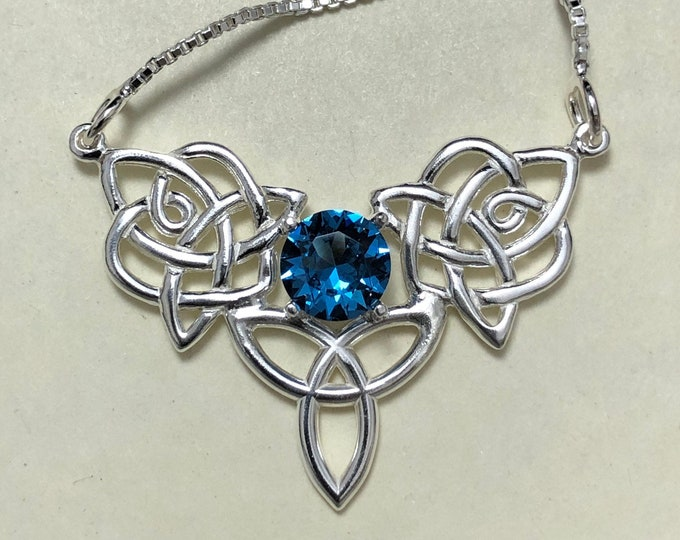 Celtic Blue Topaz Necklace in Sterling Silver, Gifts For Her, Celtic Amethyst Peridot Bohemian Jewelry, Anniversary Gifts, Irish Jewelry