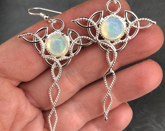 Celtic Trinity Knot Sterling Silver Earrings with 8mm round GENUINE Opal cabochons, Handmade Earrings, Artisan Celtic Earrings with Opals