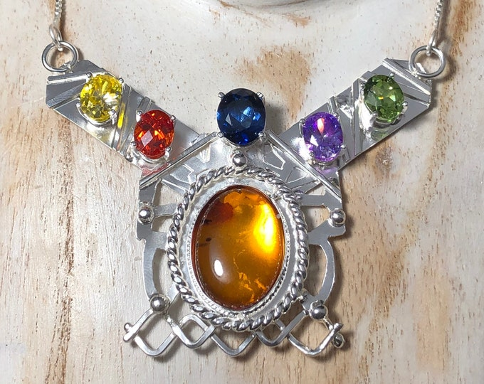 Artisan Thanos Gemstone Statement Necklace in sterling silver, Egyptian Style Gem Necklace, Sterling Silver Bohemian Necklaces
