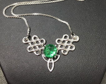Celtic Trinity Knot Gemstone Necklace in Sterling Silver, Gifts For Her, Irish Bohemian Hipster Necklace,  Celtic Boho Necklace