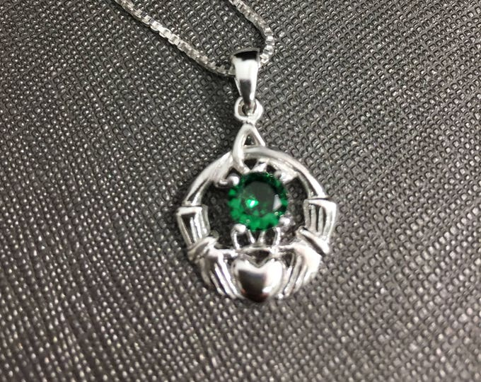 Irish Claddagh Gemstone Necklace in Sterling Silver, Gifts For Her, Irish Symbolicc Necklace, Birthday Jewelry Ideas