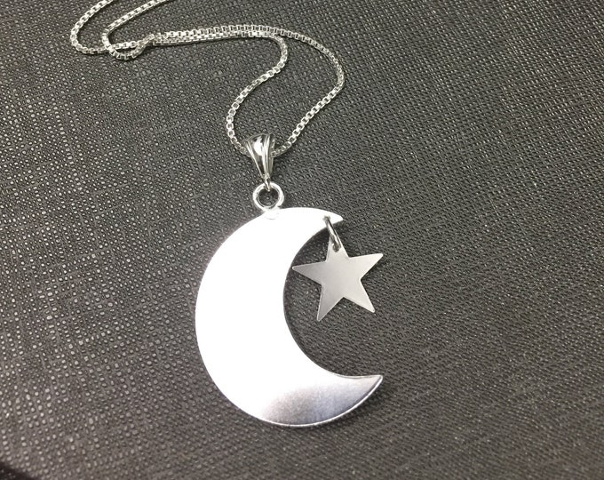 Stevie Nicks Inspired Crescent Moon and Star Necklace with 18 inch Box Chain, Sterling Silver Celestial Crescent Moon Necklace, Handmade