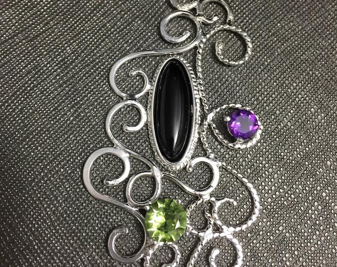 Gemstone Wire Art Nouveau Necklaces, 925 filigree Gem Necklaces, Elven Wire Sculpture Wedding Necklace, Renaissance Victorian Necklace