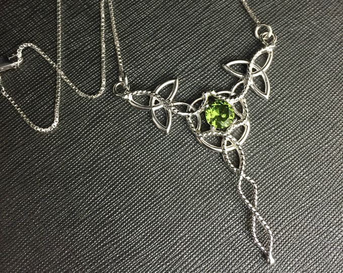 Celtic Trinity Knot Gemstone Necklace in Sterling Silver, Irish Peridot Jewelry, Large Necklaces, Gifts For Her, Wedding Accessories