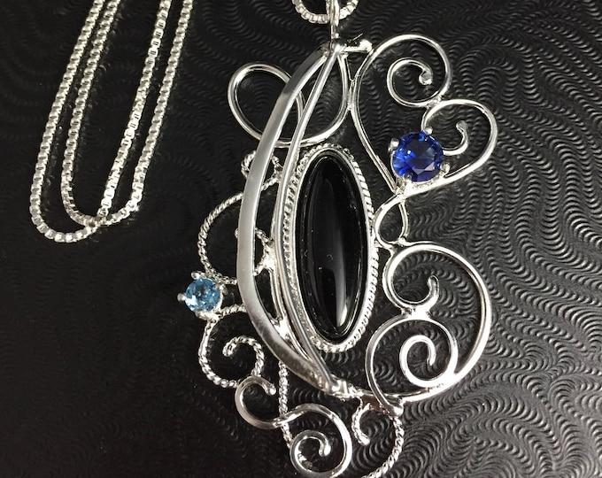 925 Abstract Art Nouveau Necklace, Wire filigree Gem Necklaces, Elven Wire Sculpture Necklaces, Renaissance Necklaces, Victorian Necklace