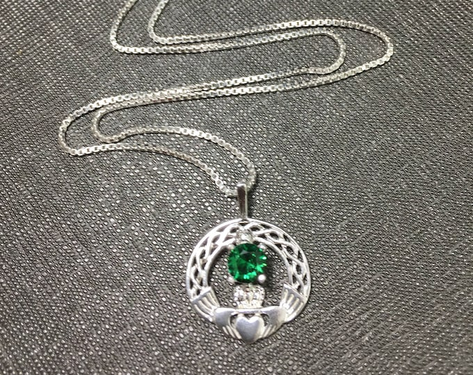 925 Claddagh Emerald Celtic Necklace, 925 Box Chain, Irish Knot Celtic Necklace, Gemstone Irish Gift for Her Necklace