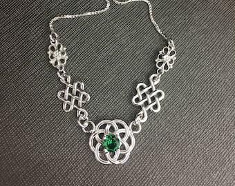 Celtic Knot Emerald Links Necklace in Sterling Silver, Artisan Celtic Statement Necklace, Box Chain, Renaissance Gemstone Necklace