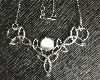 Celtic Trinity Knot Charmed Gemstone Necklace in Sterling Silver, Handmade Irish Necklaces, Scottish Jewelry, Gifts For Her