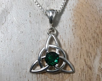 Irish Necklaces, Celtic Irish Emerald, Peridot, Amethyst Sapphire Necklaces, Gifts For Her, Charmed TV Show, Celtic Knotwork Necklaces