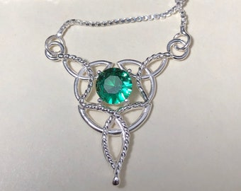 Celtic Knot Emerald Aquamarine Amethyst Necklaces in Sterling Silver, Irish Necklace, Scottish Necklaces, Gifts for Her, Birthday for Her
