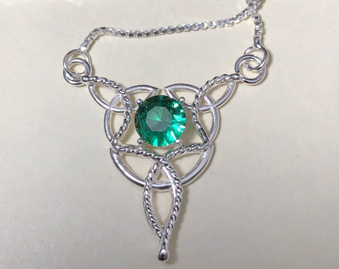 Celtic Knot Emerald Necklaces in Sterling Silver, Simple Necklaces,  Irish Jewelry, Scottish Necklaces, Gift for Her, Birthday for Her