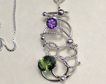 Wire Wrap Peridot Amethyst Wirework Necklaces in Sterling Silver, Gifts For Her, Wire Sculpture Necklace, Renaissance Victorian Necklace