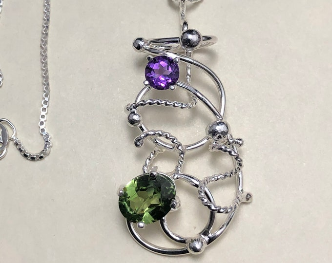 Art Nouveau Peridot Amethyst Wirework Necklaces in Sterling Silver, Gifts For Her, Wire Sculpture Necklace, Renaissance Victorian Necklace